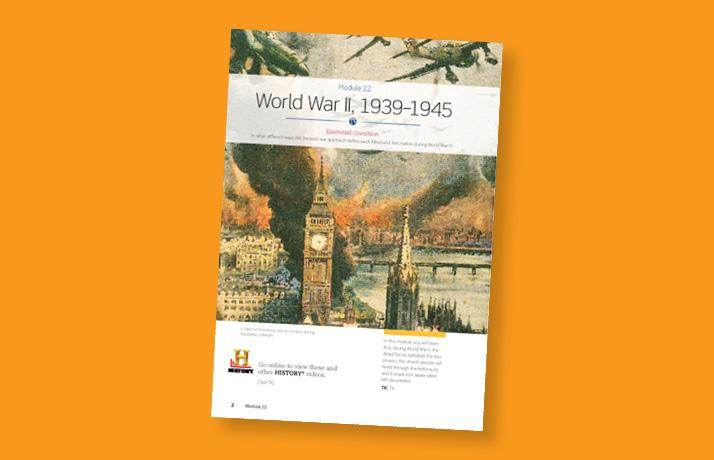 Module 22 page Social Studies book about World War II.