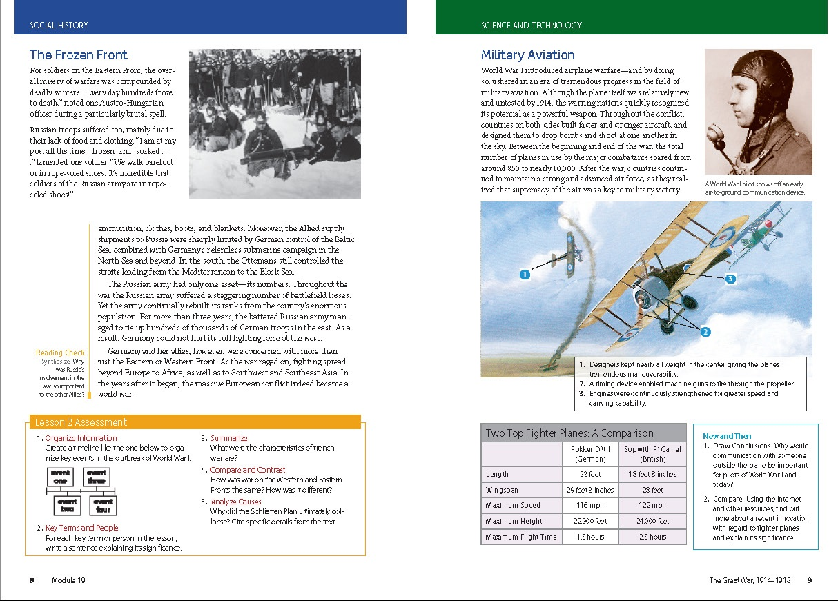 Page Social Studies book about World War II. It discusses the frozen front and military aviation.