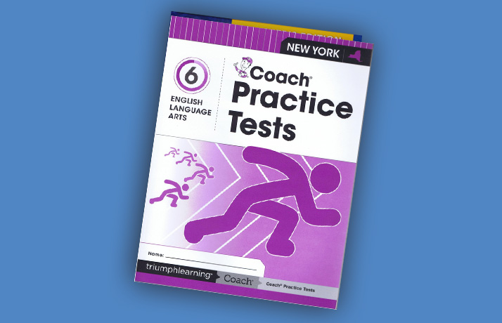 Book cover for Coach Practice Test English Language Arts, Grade 6. It has stick figures racing.