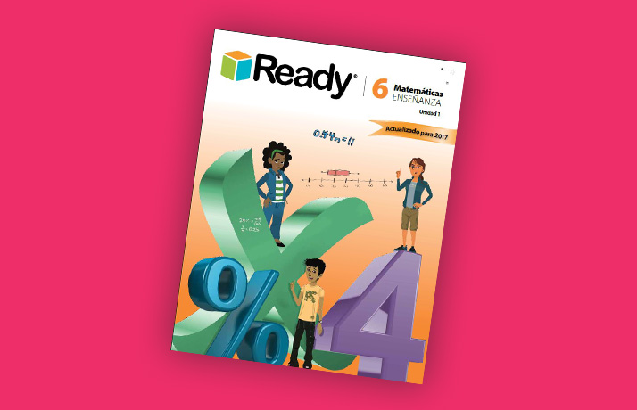 Book cover of Ready Common Core student book, volume 6. It has an X, a percent sign, and the number 4.