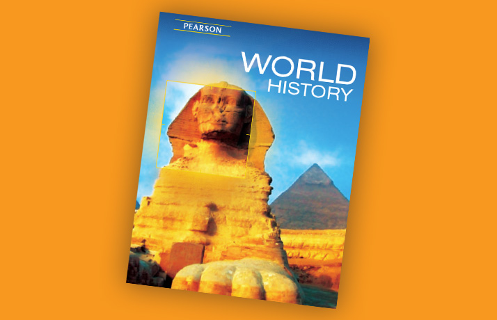 Book cover for Pearson's World History book. It has an image of the Great Sphinx of Giza.