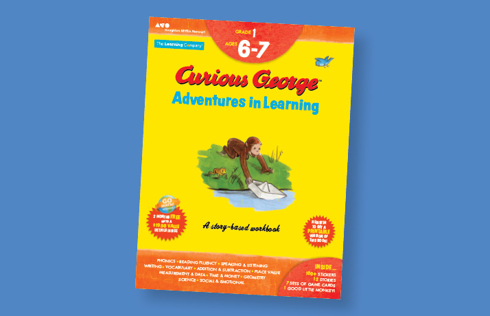 Page from Curious George Adventures in Learning. It has George handing tickets to the zookeeper.