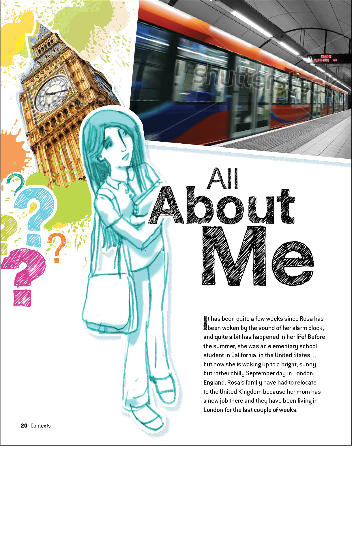 Sample student page from Language & Literature book called All About Me.