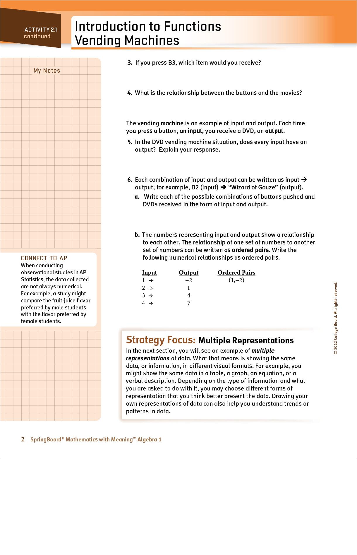 High school student algebra page regarding representation of functions