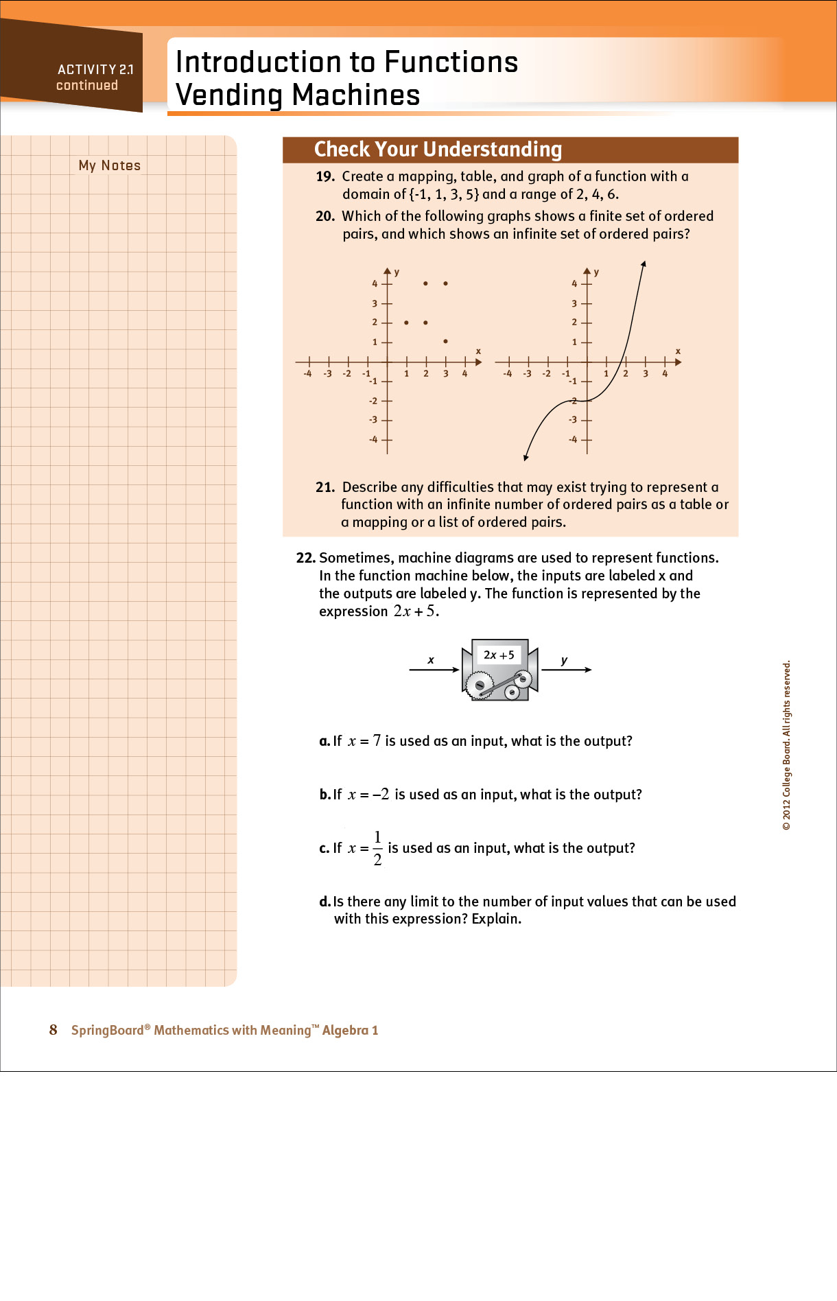 High school student alegbra page about inputs and outputs of functions