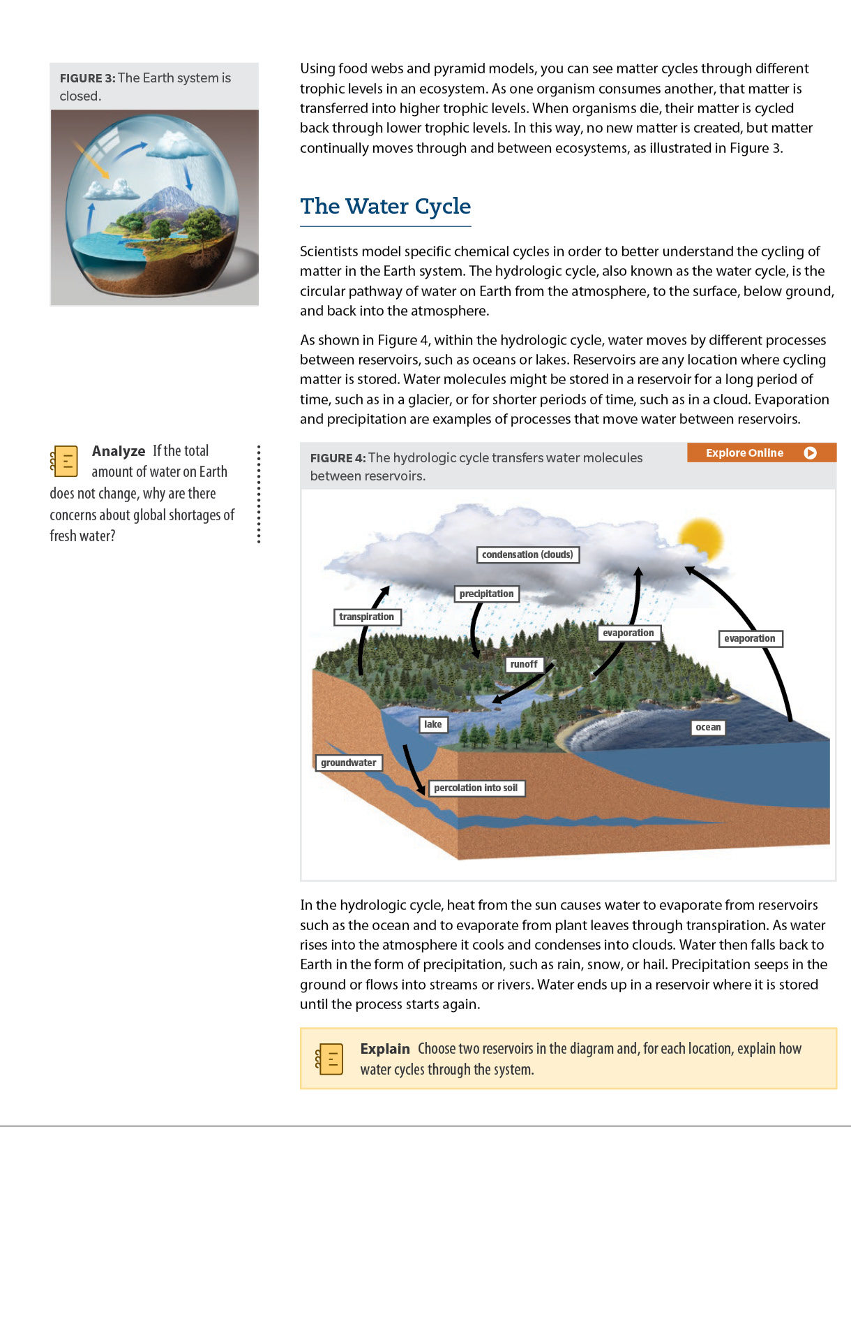 Sample biology page Dimensions Biology book about the water cycle.