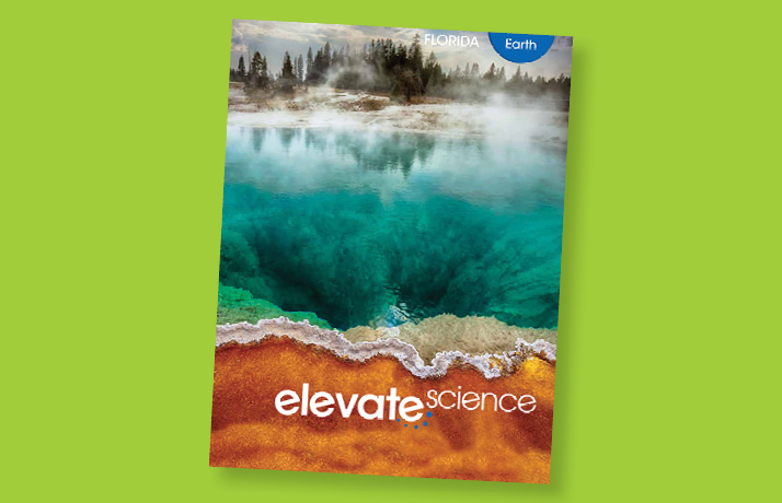 Book cover for Pearson's Elevate Science book. It has a body of water with fog coming out of it, surrounded by sand on one side and trees on another.
