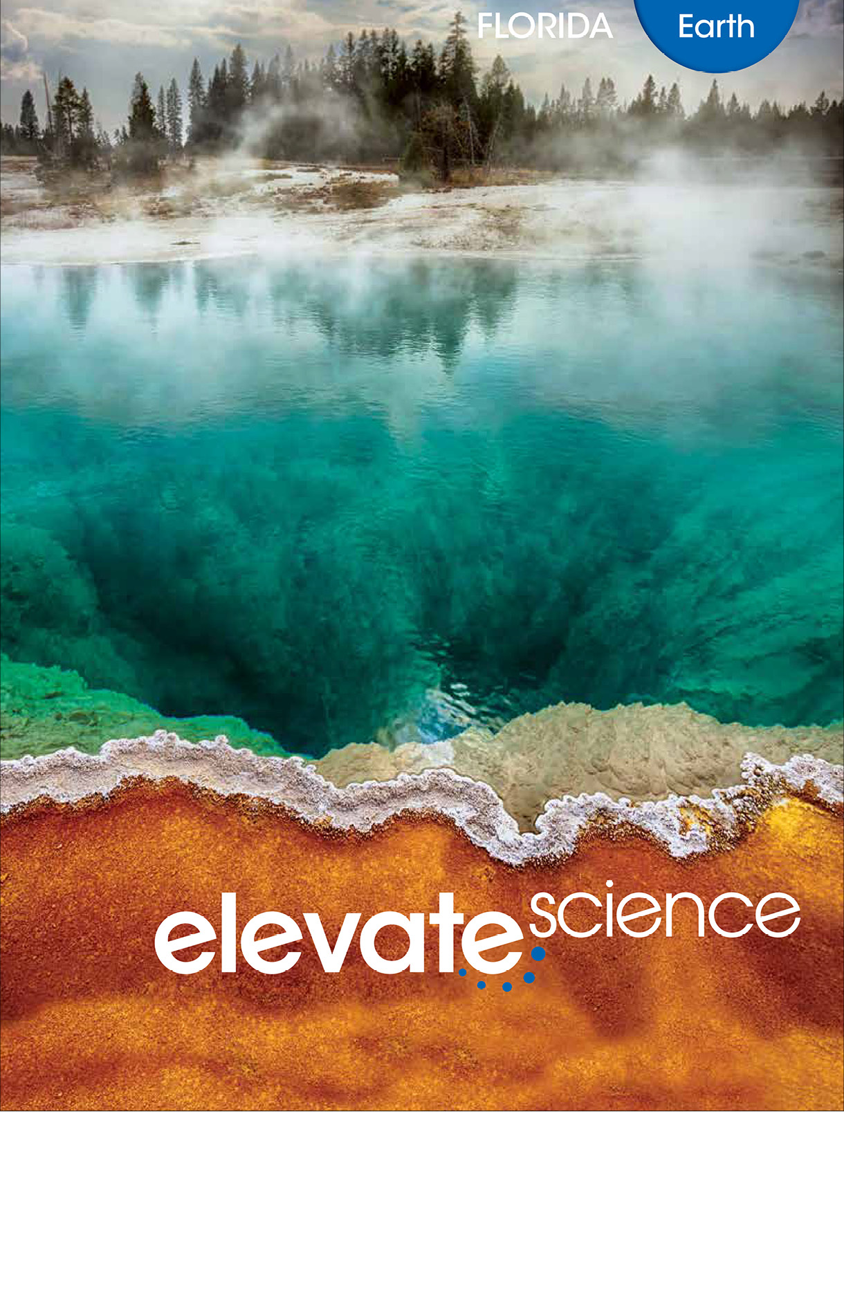 Book cover Elevate Science book. It has a body of water with fog coming out of it, surrounded by sand on one side and trees on another.