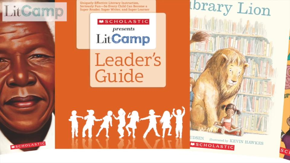 Book covers for Scholastic Litcamp Leader's Guide. It shows two sample texts that are partially visible.