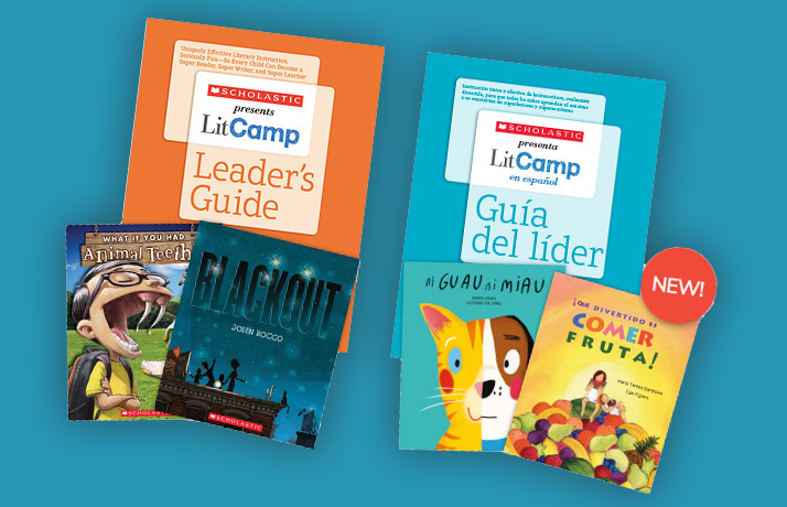 Book covers for Scholastic LitCamp Leader's Guide in English and Spanish. The English version show sample texts entitled