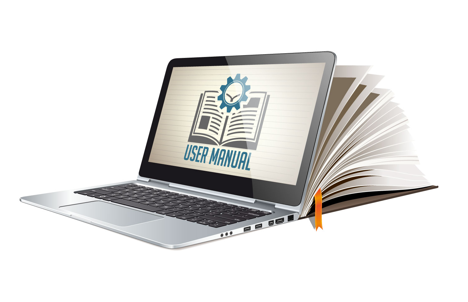 Photo showing user manual book and e-book