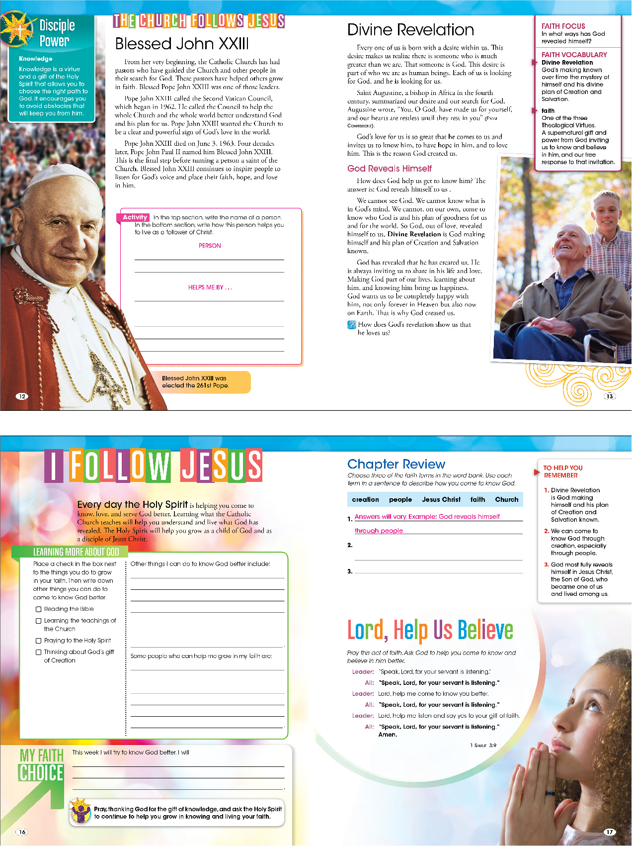 Four sample student book pages about the Pope, divine revelation, and following Jesus, with a chapter review from Be My Disciples