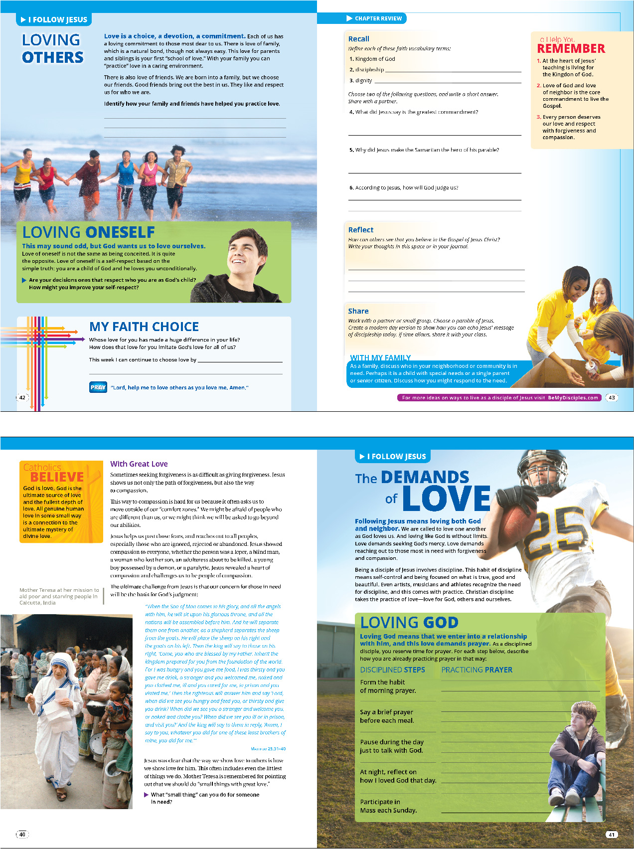 Four sample student book pages about love from Be My Disciples