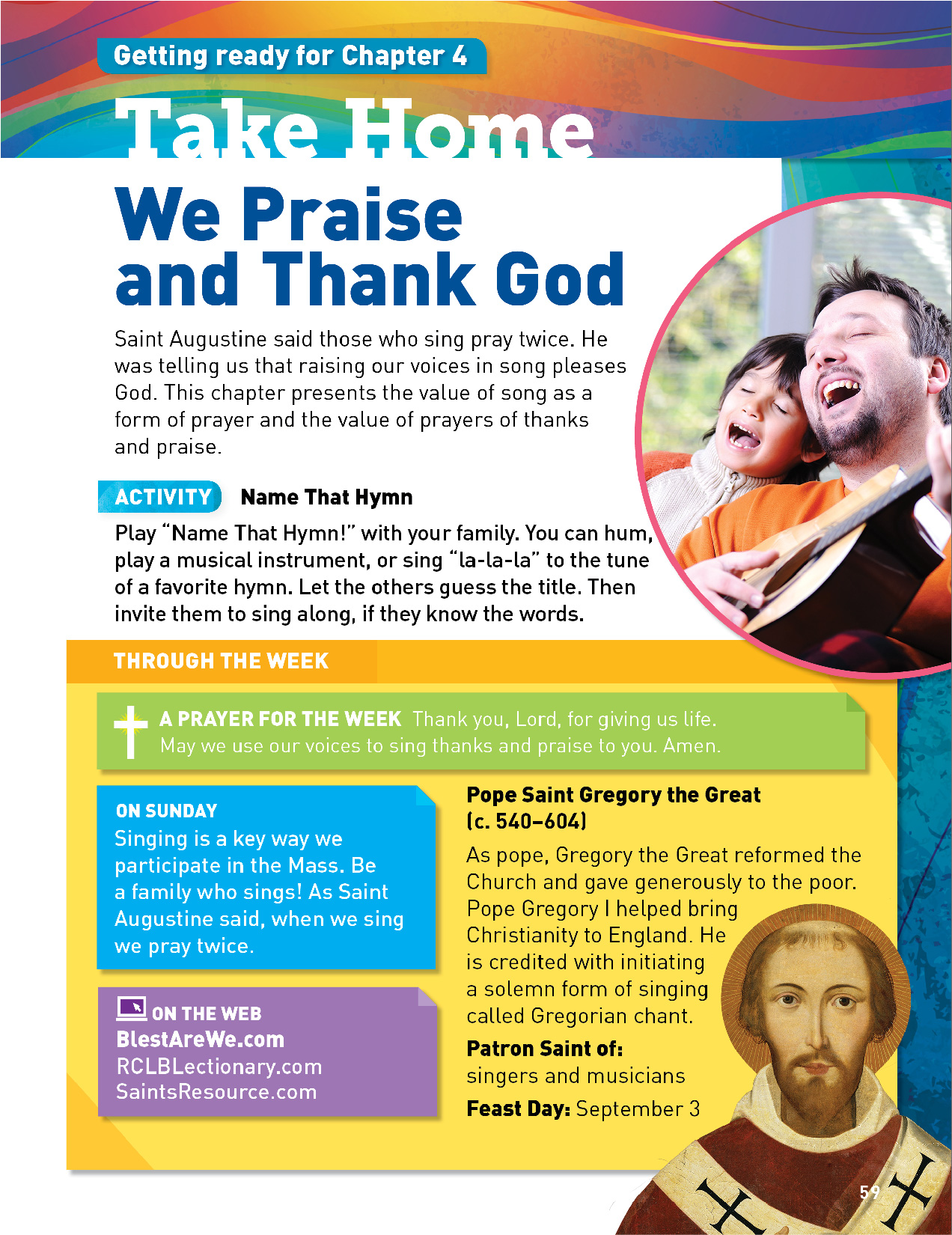 """Student book page entitled """"We Praise and Thank God"""" from of Blest Are We, Faith in Action"""