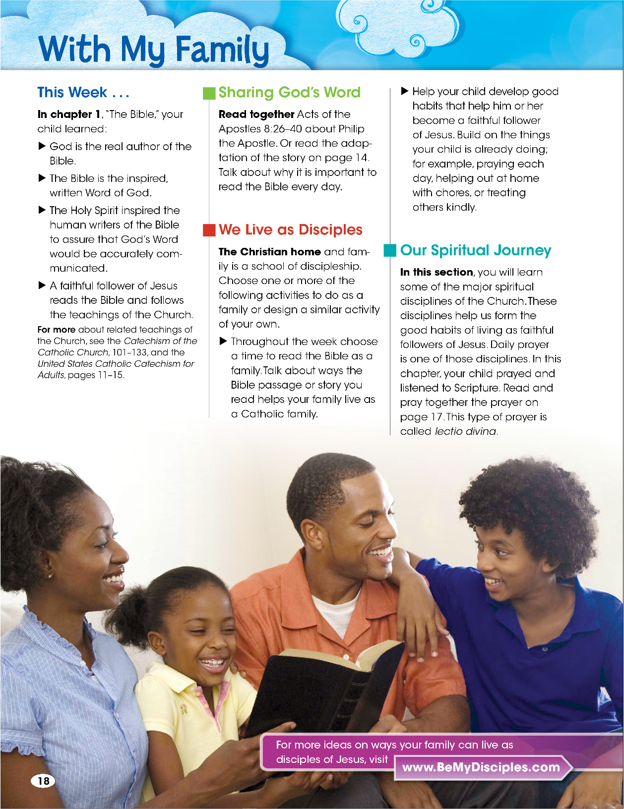Sample page about family from Be My Disciples